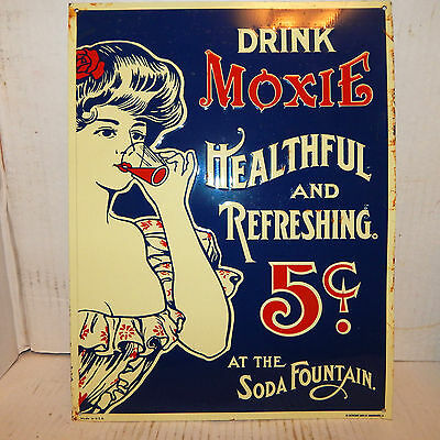 """METAL PAINTED !0"""" by 13"""" SIGN """"DRINK MOXIE 5 CENTS"""""""