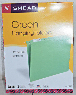 Smead Hanging File Folder with Tab 1/5-Cut Adjustable Tab Letter Green 64061