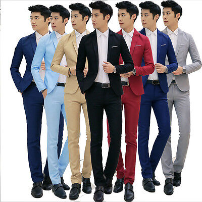 New Fashion Men Casual Formal Dress Suits Wedding Slim Fit Jacket Pants