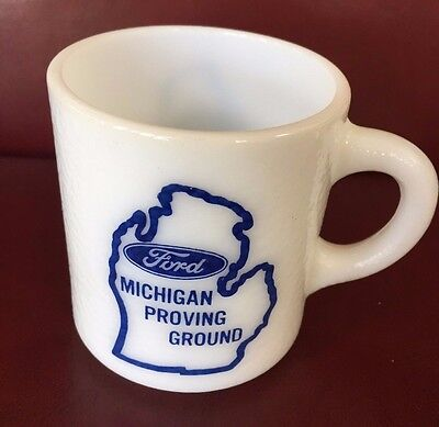 Ford Milk Glass Coffee mug cup Ford Proving Ground Michigan