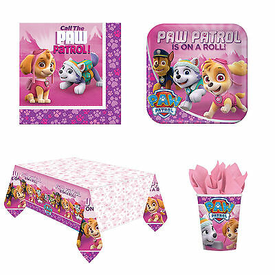 Paw Patrol Girls Party Pack Birthday Party Supplies Plate Cup Napkin Tablecover