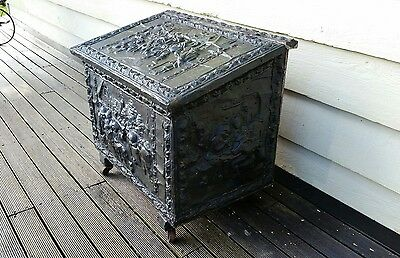 Vintage ANTIQUE copper EMBOSSED Fire WOOD Box CHEST