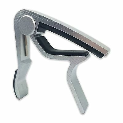 SILVER Aluminum Guitar Capo Spring Trigger Electric Acoustic Clamp Quick Release