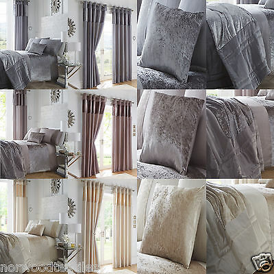 Boulevard Duvet/Quilt Cover Set Crushed Velvet Panel Curtains Bedding Linen