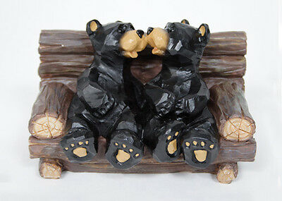Black Bears Kissing in Log Chair Figurine Indoor Home Decor