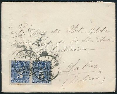 Thematic lot stamp Chile ~1902 cover to Bolivia 1902 WS238099