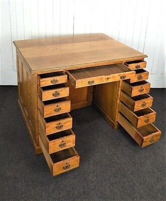 Antique large Victorian satin birch double sided desk