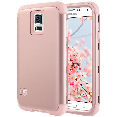 Shockproof Hybrid Rubber Hard Case Cover for Samsung Galaxy S5 i9600 Rose Gold