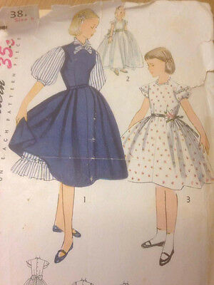 Vintage Original Sewing pattern Simplicity 3810; ©1951; Girl's One-Piece Dress