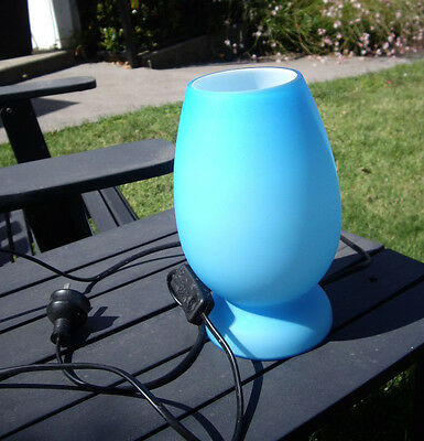 BEAUTIFUL - RETRO/DECO - BLUE FROSTED GLASS VASE LAMP - Soft, Intimate Glow