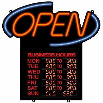 Open LED Sign Business Opening Closing Times Hours Shop Neon Look Light Display