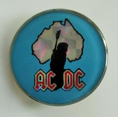 AC/DC AUSTRALIA VINTAGE METAL PIN BADGE FROM THE 1980's ANGUS YOUNG OLD RETRO