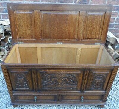 Period style carved english oak Mule Chest / Coffer / Blanket Box .