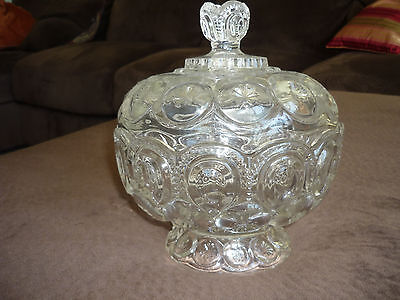 Clear Glass Lidded Compote/ Moon & Star Pattern*