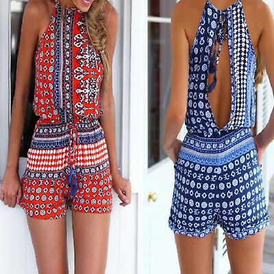 Womens Summer Holiday Mini Playsuit Ladies Jumpsuit Beach Backless Shorts UK