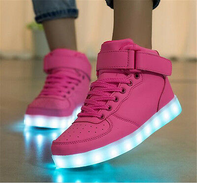 Men Women Night LED Light Up High top Sneakers USB Charger luminous shoes US12