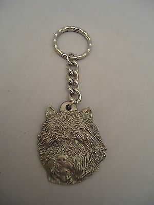 1982 Rawcliffe Pewter I Red Heart LOVE My CAIRN Terrier Dog Key Ring Keychain