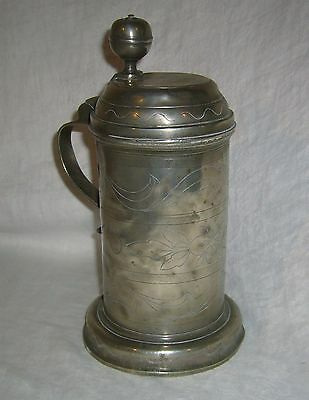 Antique Dated 1764 Berlin Touchmark German Pewter Hand Etched Scroll Beer Stein