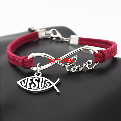 Jewelry Charm Leather Love Infinity Women Bracelet Jesus Cross Fish Gifts(SL728)