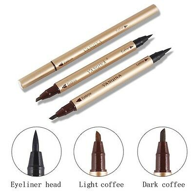 2In1 Double Ended Eyebrow Marker & Liquid Eyeliner Pen Waterproof Long Lasting