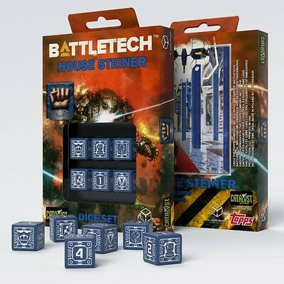 Q-Workshop BattleTech House Steiner D6 Dice set (6) | Würfel, W6