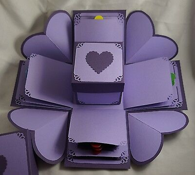 Purple Hearts Exploding Gift Box - Hearts Explosion Box - Valentines Day