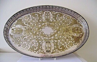 Tray Oval Silver Gallery Plated Vintage Serving Plate Chased Galleried Sheffiled