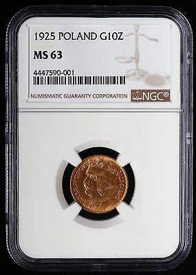 1925 Poland 10 Zlotych, GOLD, NGC MS-63