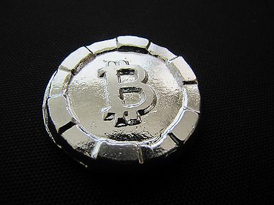 HACMint 3.3 oz 999+ Fine Silver BITCOIN Hand Poured ART ROUND