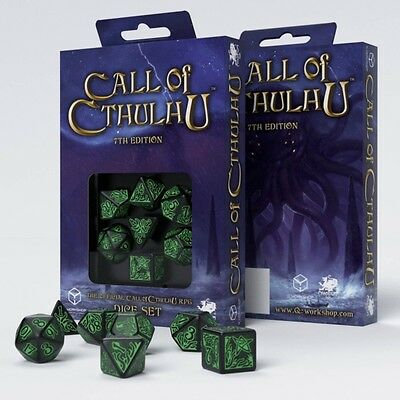 Q-Workshop Call of Cthulhu 7th Edition Dice Set Black/Green (7) | Würfelset