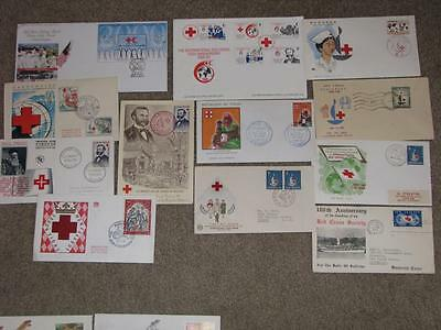 Red Cross-Covers & FDC`s  From Around the World-12 Different, Lot# R1