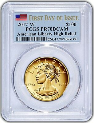 2017-W $100 American Liberty High Relief  PCGS PR70DCAM First Day - Blue Flag