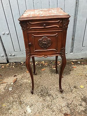 Antique French Rosewood Marble Top Bedside Cabinet