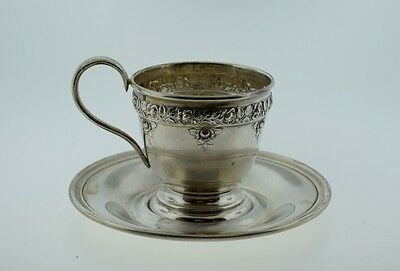 Wallace Sterling Silver Floral Repousse Cup & Saucer w/ out Liner