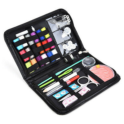 Portable 41Pcs Needle Set Sewing Kit w/ Black Leather Case Travel Home DIY Craft
