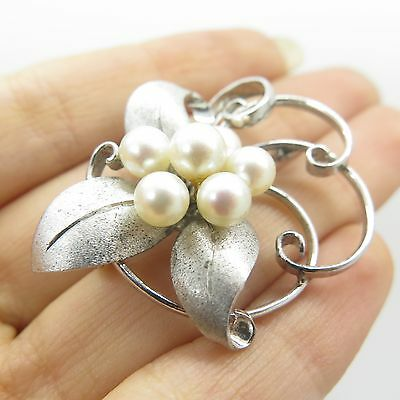 Antq 925 Sterling Silver Real Pearls Floral Pin Brooch