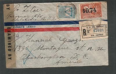 Uruguay WWII registered censor cover to 1330 Montague St Washington DC via Miami