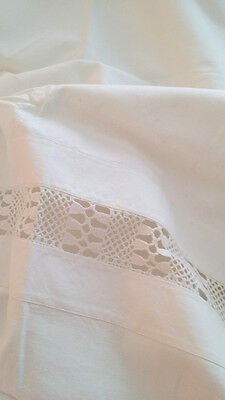 "2 ANTIQUE Euro SHAMS Large PILLOWCASES with INSERTION LACE HUGE 36"" x 31"" HEAVY!"