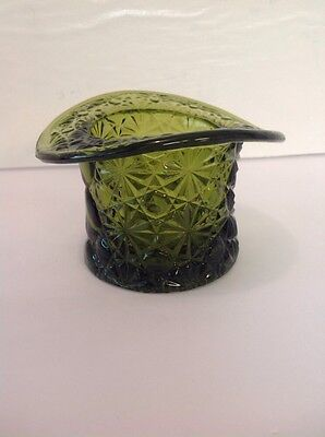 Vintage Green Pressed Glass Buttons & Daisy Top Hat Dish - Votive Candle Holder