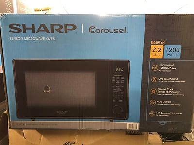 New Sharp Carousel Countertop Microwave Oven 2.2 Cu. Ft. 1200W Black R-659Yk