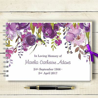 Personalised Guest Book Condolence Purple Lalique, Remembrance Book 2 Sizes