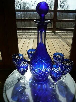 """Vintage Cobalt Blue """"Cut to Clear"""" Decanter and 6 matching glasses. ELEGANT!"""