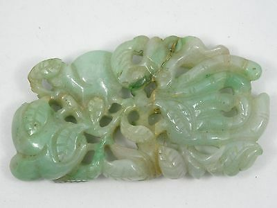 "ANTIQUE 19c CHINESE DETAILED FINE CARVED JADE PENDANT ~ 2.5"" / 30.5g"