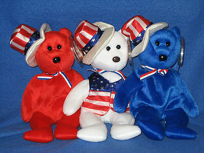 Ty Sam Set - White, Blue & Red - Beanie Baby Set - Mint Tags