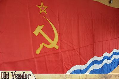 Vintage Original Soviet USSR Flag ,Original Lable  1969 Marine Navy , New & RARE