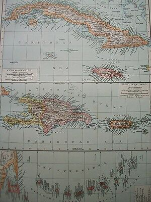 1895 Antilles Cuba Jamaica Hayti Antique Victorian Map The Times 118 Years Old