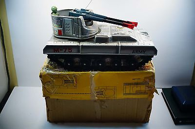 M-75 Battery Operated Giant Toy Metal Army Tank W/ Box  A776
