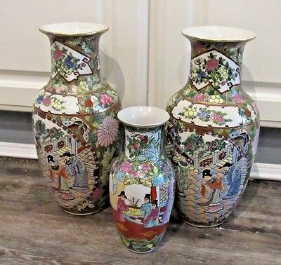 """3 Vintage /oriental Colorful Vases W/ Gold Accents Geisha Scene  2 Are 12"""""""