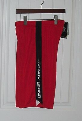 NWT Boys Under Armour Red & Black Silky Shorts - Size Large