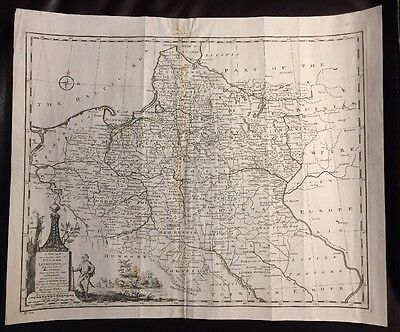 RARE LARGE 1747 Poland & Lithuania Engraved MAP Prussia Baltic Emanuel Bowen